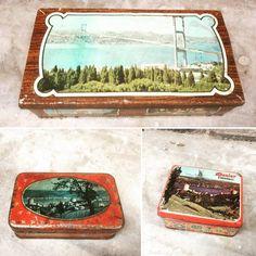 Güzel İstanbul hep kutularda mı kaldı? Yemyeşil İstanbul manzaralı tenek kutular... #vintage #retro #can #box #tin #balat #istanbul