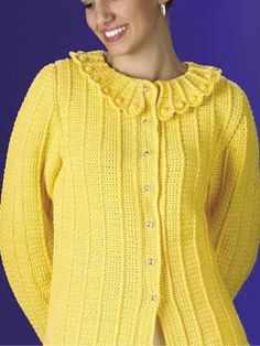 Cheery and bright, the Lemon Drops free crochet sweater pattern is a perfect sweater for spring or summer.  Freepatterns.com