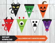 Halloween Party Monster Banner Kids by YourMainEventPrints Halloween Crafts For Kids, Diy Halloween Decorations, Halloween 2020, Cute Halloween, Holidays Halloween, Diy Halloween Banner, Halloween Door Decs, Haloween Craft, Childrens Halloween Party