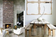 Long wooden tables with benches, simple yet striking art and tableware, neautral pallette