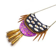 Boo and Boo Factory - Handmade Leather Jewelry   Orchid Statement Necklace, Purple and Gold Eye Bib Necklace, Tassel Necklace, Geometric Necklace