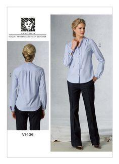 V1436 | Misses' Drawstring-Collar Top and Pants Sewing Pattern | Vogue Patterns