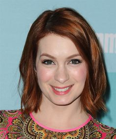 Felicia Day Medium Straight Hairstyle - Medium Red (Auburn)