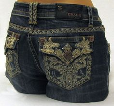 Womens Grace in LA Dark Blue With Off White Tribal Wing Embroidery and Rhinestone Jeans