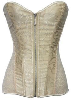 Steel Boned Jacquard Overbust Corset With Front Zipper_Steel Boned Corset_Corset and Bustiers_Sexy Lingeire | Cheap Plus Size Lingerie At Wholesale Price | Feelovely.com