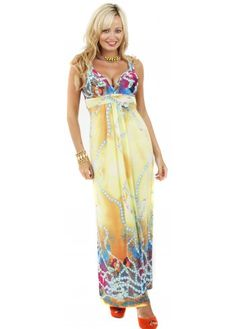 Yellow Multi Abstract Printed Maxi Dress