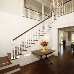 Two-Story Entry Foyer - traditional - entry - los angeles - Shigetomi Pratt Architects, Inc. Look familiar? This could be your house! Home Design, Design Ideas, Floor Design, Design Inspiration, Bruce Hardwood Floors, Concrete Floors, Two Story Foyer, Entry Foyer, Front Entry