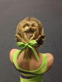 St. Patricks Day Gymnastics Hair - Clover