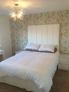 Laura Ashley summer palace birds pink and duck egg modern bedroom with white furniture bed and large headboard
