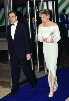 April 15, 1993: Diana, Princess of Wales attends the film premiere of 'An Accidental Hero' in London, Her dress is designed by fashion designer Catherine Walker (Photo by Tim Graham/Getty Images) Tim Graham/Getty Images