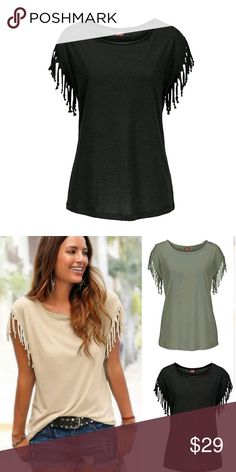 Black Fringe Top. Black Fringe Top.  Approximate Measurements Laying Flat: Armpit to Armpit: about 18 inches  Shoulder to Bottom: about 24.5 inches  This is NWOT Retail. Price Firm Unless Bundled. Tops Tees - Short Sleeve