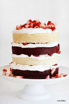 Add to the flavor of ruby red strawberries with a deep red velvet layer cake.