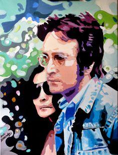 John Lennon and Yoko Ono / Original acrylic by AnnaLegowiczArt