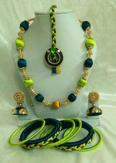 Light and Dark Green Silk Thread Jewellery Set