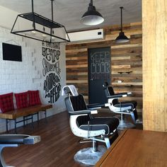 Downtown hi rollers barbershop design ideas barber shop interior . Barber Shop Interior, Barber Shop Decor, Shop Interior Design, Interior Decorating, Barbershop Design, Barbershop Ideas, Home Hair Salons, Barber School, Barber Logo