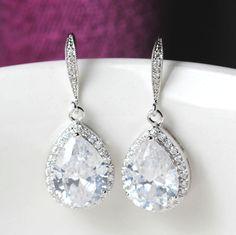 zirconia bridal earring , wedding earring , bridemaids earring , Classic Drop Earrings on Etsy, $28.00