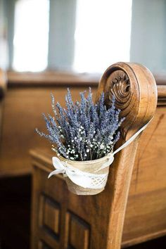 For you church wedding decorations, you can set hanging arrangement with rustic basket of lavenders to accentuate the aisle. Even, the lavender itself will bring good vibes to your wedding since it has the meaning of love and devotion. Wedding Pews, Wedding Chairs, Rustic Wedding, Lilac Wedding, Glamorous Wedding, Wedding Flowers, Fall Wedding, Church Wedding Decorations, Wedding Wishes