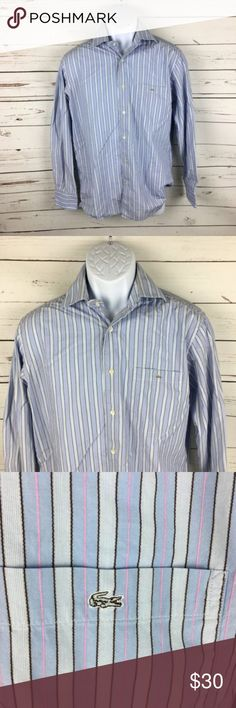 Lacoste Men's 40 Shirt Striped Button Down Medium Item: Lacoste Men's 40 Shirt Striped Button Down Long Sleeve Crocodile Medium  Size: Men's 40  Color: Multi-color Striped  Smoke Free Home.  Condition: Small blue mark near left shoulder  A11-693 Lacoste Shirts Casual Button Down Shirts