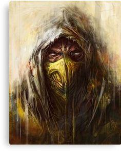 'Tomek Biniek - Scorpion' Canvas Print by Tomek Biniek Escorpion Mortal Kombat, Mortal Kombat X Scorpion, Mortal Kombat X Wallpapers, Art Tumblr, 4 Tattoo, Predator Alien, Graffiti Wallpaper, Mileena, Geek Art