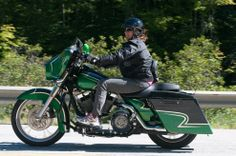 Harley rider touring along Vermont Route 100 during the 2013 Iron Adventure run