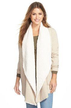 kensie Fleece Lined Drape Front Ponte Jacket rayon/nylon/spandex/poly heather latte/cream szS 34L 109.00