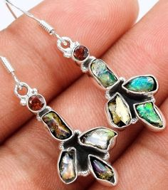 earrings ethiopian opal rough garnet sterling silver one and half inch dangles #Dangles