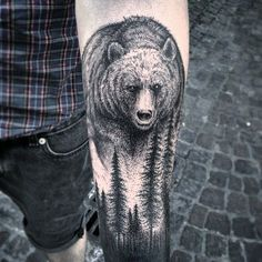 Getting a forearm tattoo can be tricky. So in this article, I will tell you about some of the coolest forearm tattoo designs and answer some inking FAQs. Cool Forearm Tattoos, Body Art Tattoos, Sleeve Tattoos, Tatoos, Forest Forearm Tattoo, One Word Tattoo, Grizzly Bear Tattoos, Bear Paw Tattoos, Wald Tattoo