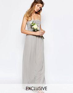 Shop Vila Ruched Bodice Bandeau Maxi Dress at ASOS. Grey Chiffon Dress, Grey Maxi, Chiffon Dresses, Bridesmaid Dresses Uk, Bridesmaids, Shirred Dress, Tall Dresses, Tube Dress, Latest Fashion Clothes