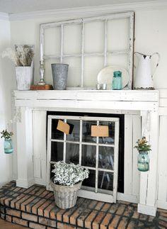 LaurieAnna's Vintage Home: Featured Farmhouse October, Farmhouse Friday #9  Novel fireplace screen