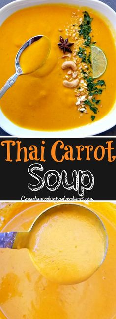 This Creamy Thai Carrot Soup is made with lots of carrots and has hints of thai flavors incorporated into it. This Creamy Thai Carrot Soup is made with lots of carrots and has hints of thai flavors incorporated into it. Vegetarian Soup, Vegan Soups, Vegan Meals, Vegetarian Recipes, Thai Carrot Soup, Thai Soup, Carrot Soup Easy, Carrot Coconut Soup, Creamy Carrot Soup