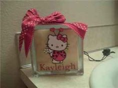 Personalized Glass Block Lights - Hello Kitty