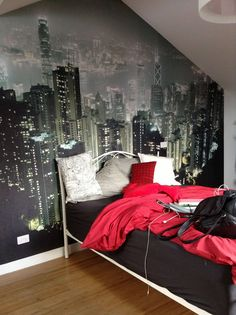 Love the idea of a land scape behind the bed!  I think something like the grand canyon would be cool in our room