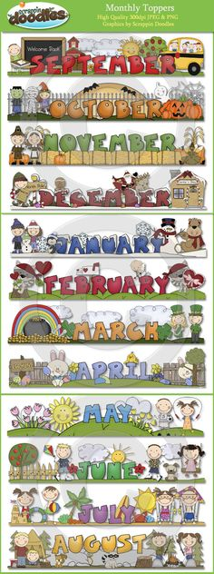 Monthly Toppers - January through December December Calendar, Calendar 2014, Kids Calendar, Silhouettes, Preschool Calendar, Free Printable Calendar, Monthly Themes, Scrapbook Pages, Scrapbooking