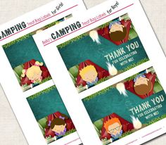 Camping Birthday Party Treat Bag Tags by missbellaexpressions,