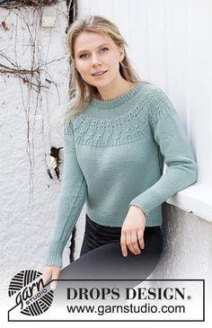 Wild Mint Sweater / DROPS 215-16 - Kostenlose Strickanleitungen von DROPS Design Drops Design, Knitting Patterns Free, Free Knitting, Crochet Patterns, Mint Sweater, Drops Patterns, Baby Pullover, Crochet Girls, Knitwear Fashion