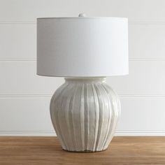 Shop Luna Handcrafted Lamp.  Hand carved with crisp ridges, this urn-shaped lamp graces the nightstand or side table with the look artisanal ceramics.