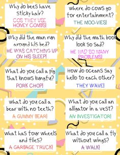 Brighten your child's day with these 30 printable FREE Lunch Box Jokes For Kids! Bright and colorful lunch box notes that are funny! Print as many copies as you like! Kids Lunch Box Notes, Lunch Box Jokes, Kids Notes, Funny Jokes For Kids, Dad Jokes, Games For Kids, Activities For Kids, Camping Activities, Jokes And Riddles