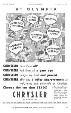 Chrysler Autocar Car Advert 1933 - at Olympia