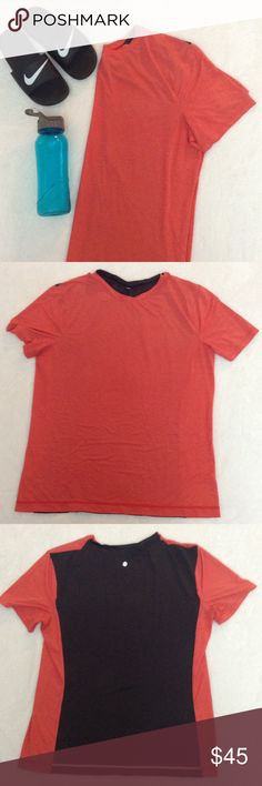"""LULULEMON ORANGE GRAY STRIPED TECH T SHIRT MENS LULULEMON ORANGE GRAY STRIPED TECHNICAL TEE SHIRT, SCOOP NECK, MENS. BLACK BACK PANEL. THE TAG IS CUT FOR SIZE BUT THE CHEST MEASURES 23"""" ACROSS SO TAGGING THIS AS AN EXTRA LARGE. EXCELLENT CONDITION. LIKE NEW! lululemon athletica Tops Tees - Short Sleeve"""