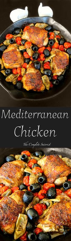 Mediterranean Chicken ~ Savory Chicken thighs with California Ripe Olives, artichokes, tomatoes in a herb-balsamic sauce. ~ The Complete Savorist #CalOlivesMedRecipe @CalRipeOlives