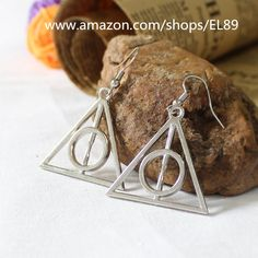 AmazonSmile: Alloy Handmade Harry Potter Deathly Hallows Dangle Earrings (Bronze): Clothing