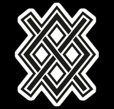 Gungnir. Symbol of Odin's spear. G and ng runes combined as a bind rune.