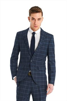 Shop mens suits at Moss Bros – the UKs number 1 suit shop. Moss Bros, Suit Shop, Blue Check, Well Dressed Men, Formal Wear, Mens Suits, Groomsmen, The Man, Ted Baker