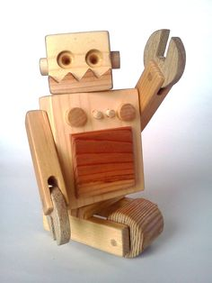 Wooden Magnetic Robot.  Too Cool.
