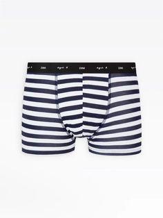 boxer homme bleu et blanc à rayures Dim x agnès b. | agnès b. Patterned Shorts, Trunks, Swimming, Swimwear, Men, Fashion, Stripes, Drift Wood, Swim