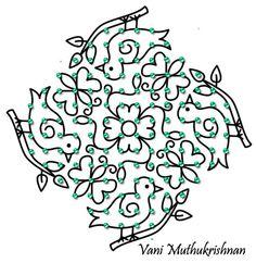 bird kolam Small Rangoli Design, Rangoli Kolam Designs, Rangoli Designs With Dots, Rangoli Designs Images, Kolam Rangoli, Flower Rangoli, Rangoli With Dots, Beautiful Rangoli Designs, Simple Rangoli