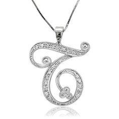 18k White Gold Alphabet Initial T Diamond Pendant Necklace (GH, SI, 0.17 carat) Diamond Delight. $249.99