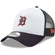 b5329a7e481 Men s Detroit Tigers New Era White Navy Trucker Hit A-Frame 9FORTY  Adjustable Snapback Hat