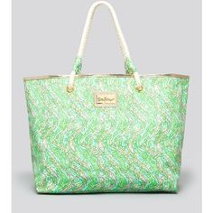 Lilly Pulitzer Shoreline Printed Tote Bag ($78) ❤ liked on Polyvore