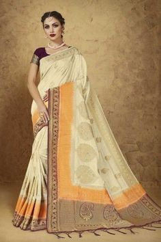 8bf706fe9d1e64 Designer Beige Jacquard And Banarasi Silk Saree With Banarasi Silk Blouse -  DMV12185  silksarees
